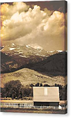 Barn With A Rocky Mountain View In Sepia Canvas Print by James BO  Insogna