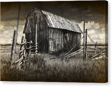 Barn With Wood Fence Canvas Print by Randall Nyhof