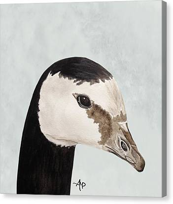 Barnacle Goose Portrait Canvas Print by Angeles M Pomata