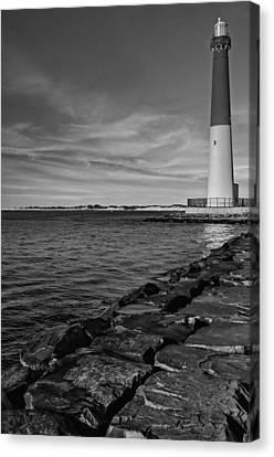 Barnegat Lighthouse Bw Canvas Print by Susan Candelario