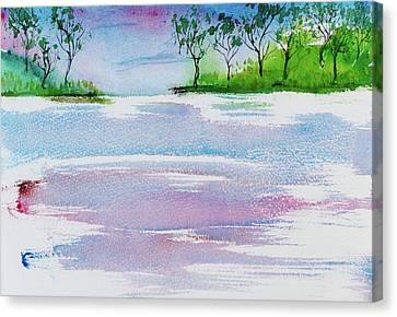 Gum Trees Frame The Sunset At Barnes Bay Canvas Print