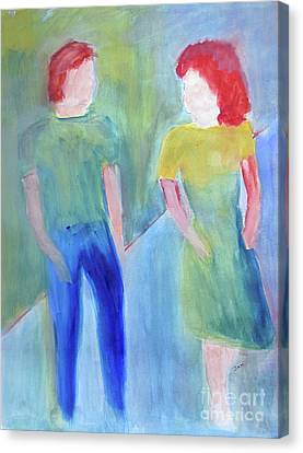 Canvas Print featuring the painting Barney And Elizabeth by Sandy McIntire