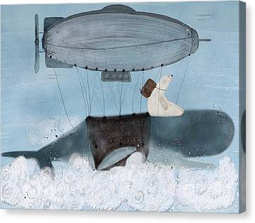 Canvas Print featuring the painting Barney And The Whale by Bri B