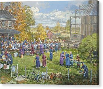 Barnraising Lunch Canvas Print by Peter Etril Snyder
