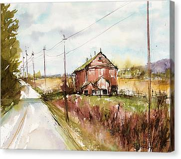 Barns And Electric Poles, Sunday Drive Canvas Print by Judith Levins