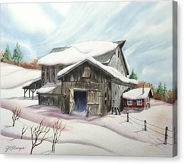 Barns In Snow Canvas Print by Joseph Burger