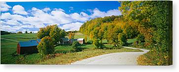 Barns Near A Road, Jenny Farm, Vermont Canvas Print by Panoramic Images