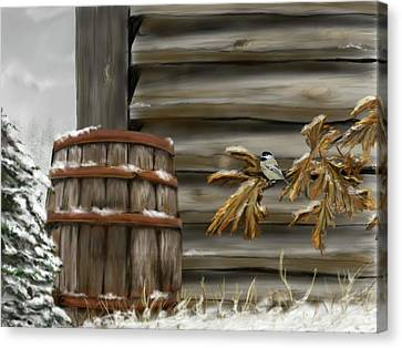 Canvas Print featuring the digital art Barnyard Barrel And Chickadee by Darren Cannell