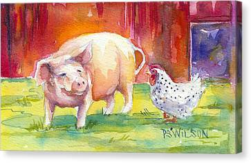 Barnyard Conversations Canvas Print by Peggy Wilson
