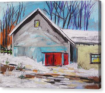 Barnyard In Winter Canvas Print by John Williams
