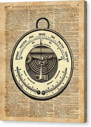 Barometer Vintage Tool Dictionary Art Canvas Print by Jacob Kuch