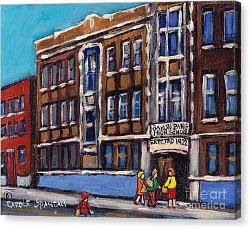 Baron Byng High School Rue St Urbain Montreal Memories Class Of 65 Canadian Art Carole Spandau       Canvas Print by Carole Spandau
