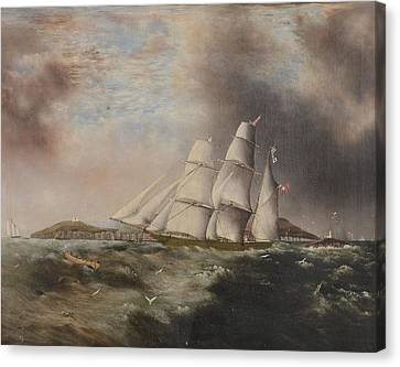 Barque Heading Out Off Anglesea In Choppy Seas Canvas Print