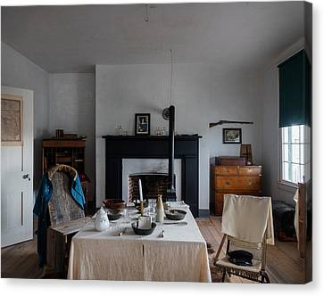 Canvas Print featuring the photograph Barracks Interior At Fort Laramie National Historic Site In Goshen County by Carol M Highsmith