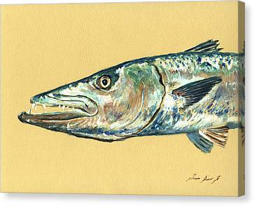 Barracuda Fish Canvas Print by Juan  Bosco