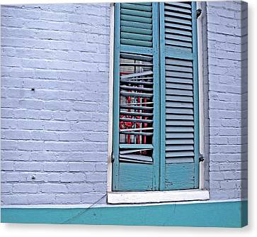 Canvas Print featuring the photograph Barred And Shuttered by Lynda Lehmann
