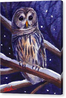 Barred Owl And Starry Sky Canvas Print