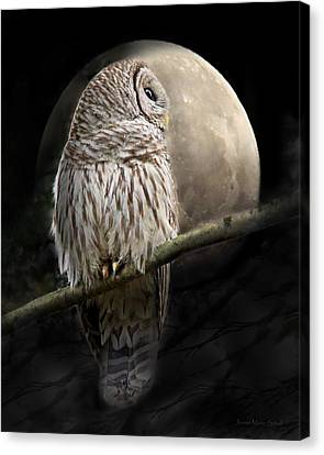 Barred Owl Moon Glow Canvas Print by Jennie Marie Schell