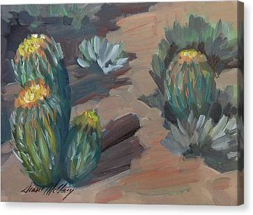 Canvas Print featuring the painting Barrel Cactus At Tortilla Flat by Diane McClary