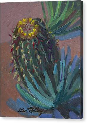 Barrel Cactus In Bloom - Boyce Thompson Arboretum Canvas Print
