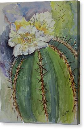 Canvas Print featuring the painting Barrel Cactus In Bloom by Marilyn Barton