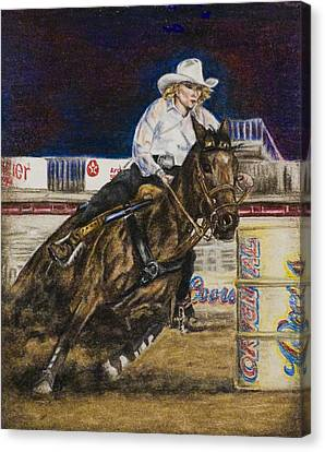 Barrel Racer Canvas Print by Laurie Tietjen