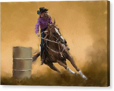 Barrel Racing Canvas Print by Kathie Miller