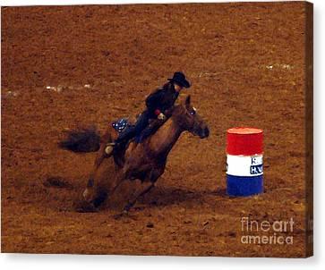 Houston Cowgirl Canvas Print - Barrel Racing by Mark Grayden