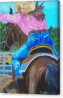 Barrel Rider Canvas Print by Michael Lee