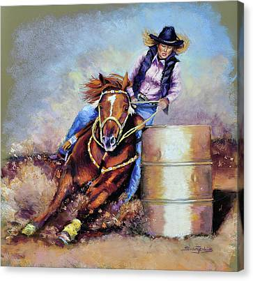 Barrel Rider Canvas Print by Susan Jenkins