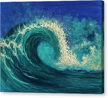 Canvas Print featuring the painting Barrel Wave by Darice Machel McGuire
