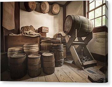 Canvas Print featuring the photograph Barrels By The Window by Gary Heller