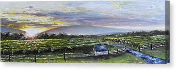 Pallet Knife Canvas Print - Barren Ridge Sunset by Ryan Yancey