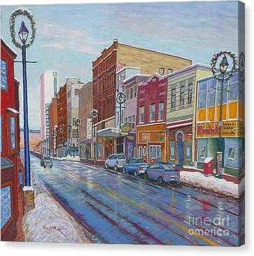 Barrington St In Winter Canvas Print