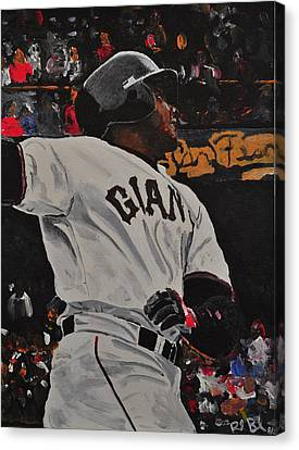 Barry Bonds Record Home Run  Canvas Print by Ruben Barbosa