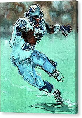 Barry Sanders Canvas Print - Barry Sanders - Detroit Lions Hof Rb Abstract by Bob Smerecki