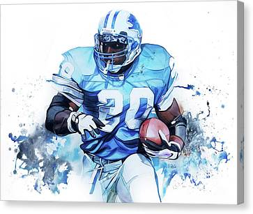 Barry Sanders Canvas Print - Barry Sanders Gridiron Greats by Michael Pattison