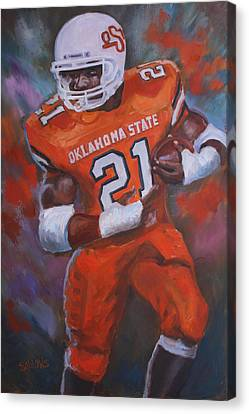 Barry Sanders, Oklahoma State Canvas Print by Nora Sallows