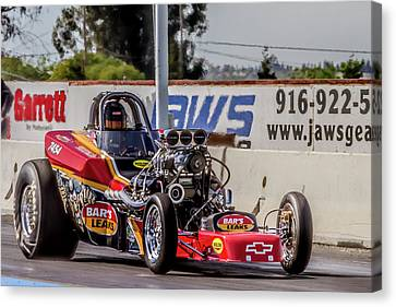 Drag Racing Canvas Print - Bars Leak Racer by Bill Gallagher