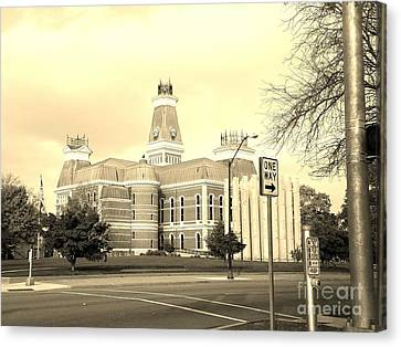 Bartholomew County Courthouse Columbus Indiana - Sepia Canvas Print by Scott D Van Osdol