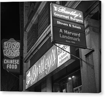 Bartley's Burgers And The Hong Kong In Harvard Square Cambridge Ma Black And White Canvas Print