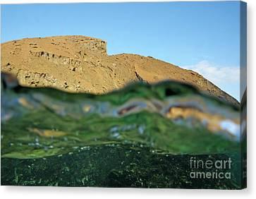 Bartolome Island Rock And Water Surface Canvas Print by Sami Sarkis