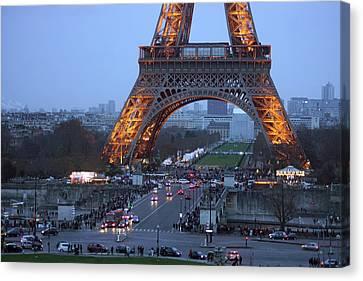 Base Of Eiffeltower Canvas Print by Erik Tanghe
