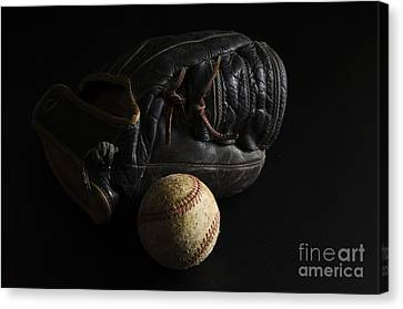 Baseball Glove Canvas Print - Baseball 1 by Bob Christopher