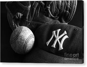 Baseball Glove Canvas Print - Baseball 2 by Bob Christopher