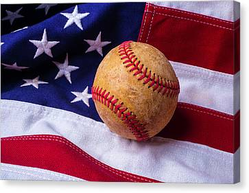 Baseball And American Flag Canvas Print