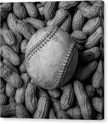 Canvas Print featuring the photograph Baseball And Peanuts Black And White Square  by Terry DeLuco