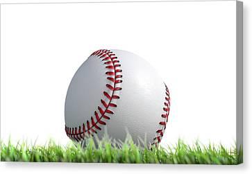 Baseball Ball Resting On Grass Canvas Print