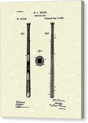 Baseball Bat 1885 Patent Art Canvas Print by Prior Art Design