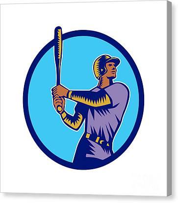 Baseball Batter Batting Bat Circle Woodcut Canvas Print by Aloysius Patrimonio